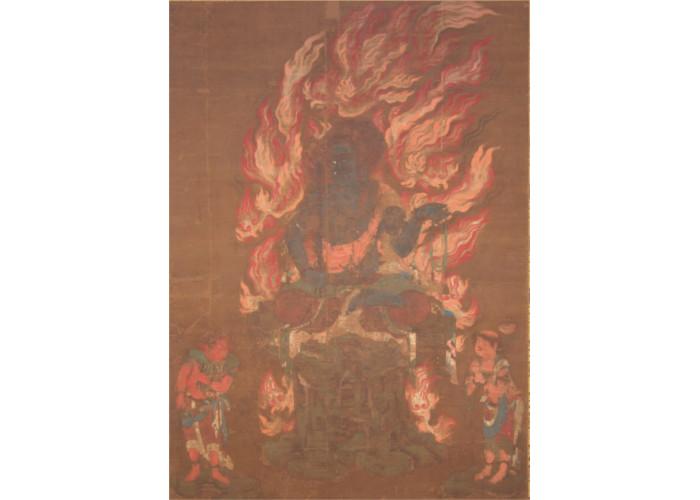 絹本著色 国宝不動明王二童子像(青不動明王)11世紀半ば 青蓮院門跡蔵